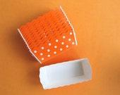 Orange Polka Dot Mini Loaf Pans or Treat Cups (12)