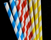 Super Hero or Primary Themed Striped Paper Straws and PDF Printable Party Flags
