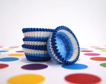 Mini Cupcake Liners 50  Blueberry Blue Swirl