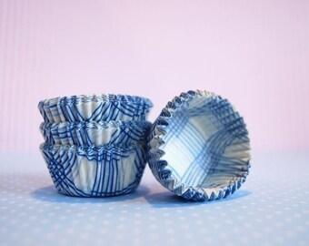 Mini Cupcake Liners 50 Blue Plaid