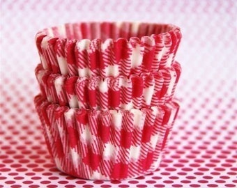 Mini Cupcake Liners 50 Pink and White Picnic Baking Cups
