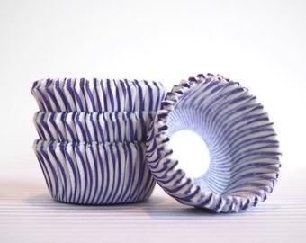 Mini Cupcake Liners 50 Purple Striped