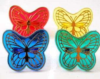 Large Butterfly Rings Cupcake toppers or Party Favors (12)