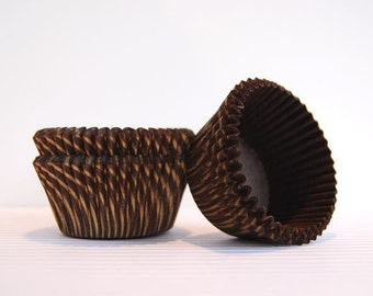 Brown and Gold Shiny Stripe Cupcake Liners (50)