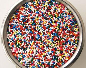 Tiny Rainbow Circle Sprinkles Non Pereils   (4 ounces)