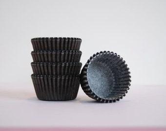 Mini Cupcake Liners Black 50