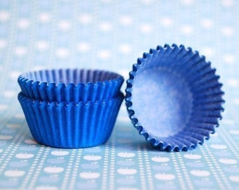 Mini Cupcake Liners 50 Blue Baking Cups