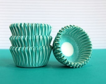 Mini Cupcake Liners 50 Teal Striped Baking Cups