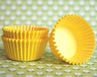 Mini Cupcake Liners 50 Yellow baking cups