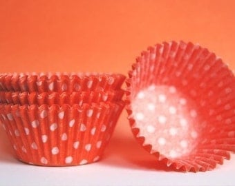 Orange and White Polka Dot Cupcake Liners (50)