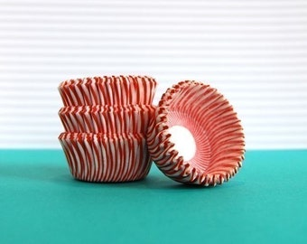 Mini Cupcake Liners Red and White Stripe 50