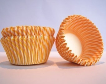 Yellow Gold and White Stripe Cupcake Liners (50)