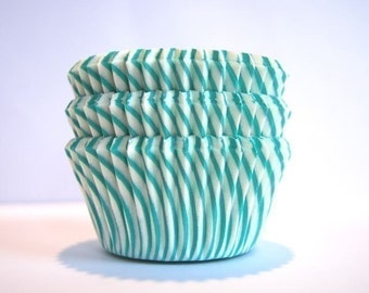 Aqua Teal and White Stripe Cupcake Liners (50)