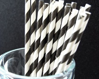 Black Striped Paper Straws and PDF Printable Party Flags