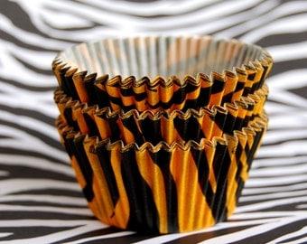 JUMBO Orange Tiger Stripes Cupcake Liners (24)