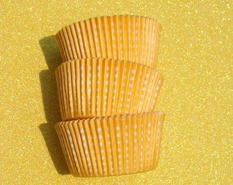 Yellow Dotted Cupcake Liners (50)