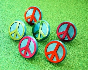 Peace Sign Rings or Cupcake Toppers (12)