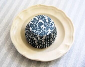 Blue Steel  Damask Cupcake Liners  (50)