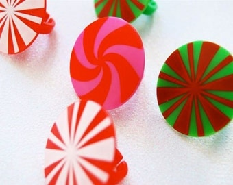 Peppermint Candy Cupcake Topper Favor Rings (12) Limited Quantities