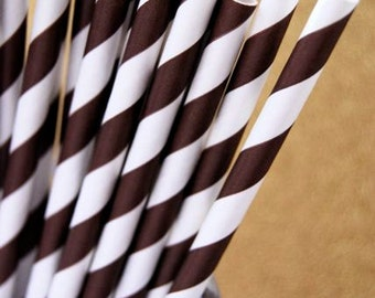 Brown Striped Paper Straws and PDF Printable Party Flags
