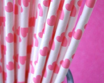 Paper Straws and PDF Printable Party Flags Pink Hearts
