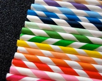 25 Assorted Striped Paper Straws and PDF Printable Party Flags
