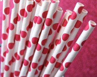Dark Pink Polka Dots Paper Straws and PDF Printable Party Flags
