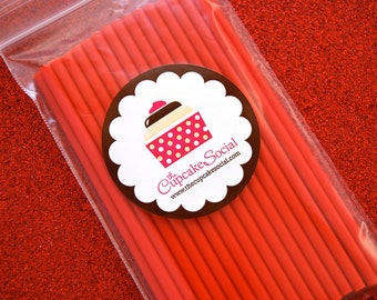 Red Cake Pop Sticks  (25 sticks per pack)