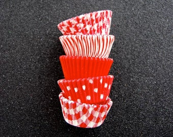 Mini Cupcake Liners 50 Assorted Red Baking cups
