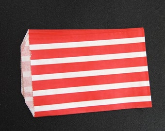 10 Red Bold Striped Paper Gift Bags (Medium 5 x 7.5)