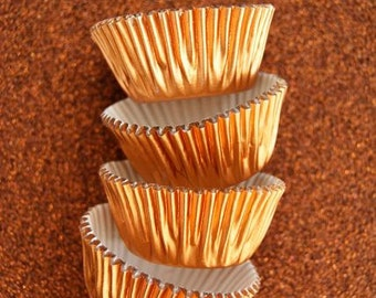 Mini Light Orange Foil Cupcake Liners 50  Baking Cups