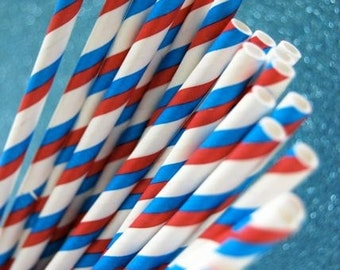 Striped Paper Straws and PDF Printable Party Flags Red White and Blue