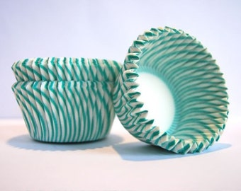 Terrific Teal and White Stripe Cupcake Liners (50)