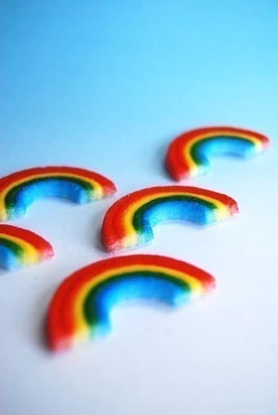 Rainbow Edible Cupcake or Cake decorations (12)