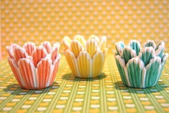 Mini Cupcake Liners 45  Pretty Pastel Tulip Baking Cups