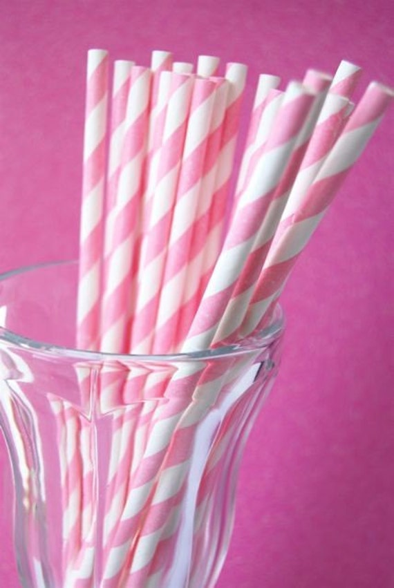 Pink Striped Paper Straws Pink Striped Paper Straws And