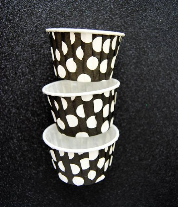Candy Cups in Black with Jumbo White  Polka Dots (25)