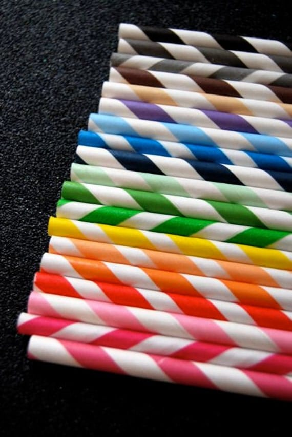 50 Assorted Striped Paper Straws and PDF Printable Party Flags