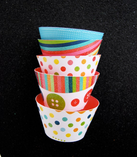 Glitter Rainbow Party Cupcake Wrappers  (12)