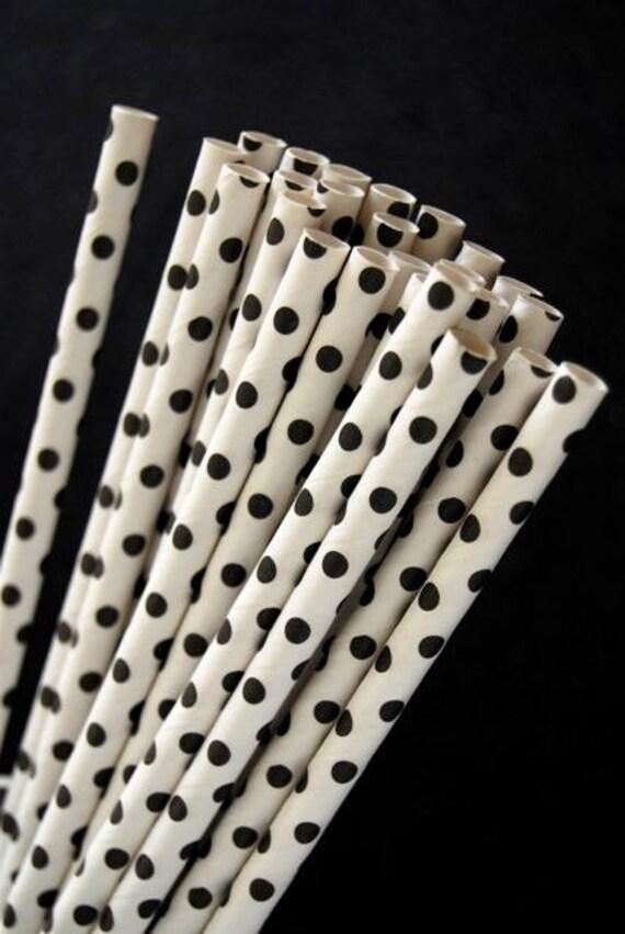 Black Mini Polka Dot Paper Straws and PDF Printable PArty Flags