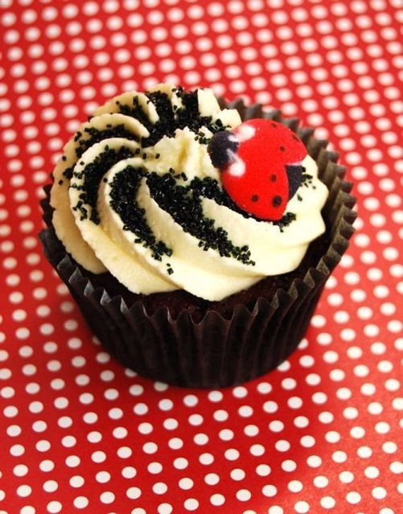 Edible Cake Images Storage : Edible Ladybugs for Cupcakes or Cake decorations by ...