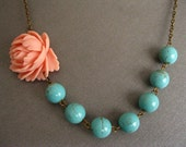 Peach Rose And Turquoise Bead Necklace Antique Brass