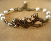 Lily Of The Valley Bracelet Cream Swarovski Pearl Antique Brass