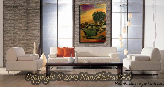 HUGE ORIGINAL Abstract Painting acrylic oils Ready to Hang Heavy Texture 24x 36x 2.5 River, LANDSCAPE, trees, Lake,Sunset Decor Art By Nan B