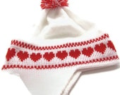 Handmade Knit Childs Ear Flap Hat Red Hearts Pom Pom Red White Ropes