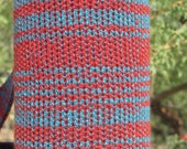 Knit Insulating Water Bottle Holder Cozy with Strap Patina Rust Turquoise