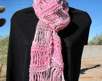 Hand Knit Scarf Woman's Pink MultiColor Lacy Long Fashion