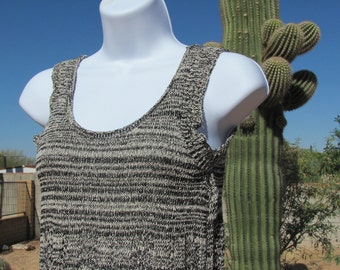 Knit Tank Girl Black and Beige or White Lace Summer Size 10 to 12 Scoop Neck Sleeveless