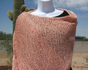 Luxurious Wrap Shawl Scarf Ladies Hand Knit Ribbon Yarn Peach