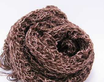 For Him or For Her -- Two Tone Brown Scarf with Fringe Long